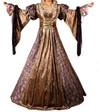 Ladies Deluxe Medieval Renaissance Costume And Headdress Size 10 - 12