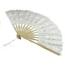 Ladies Cream 18th Century Masked Ball Victorian Handmade Cotton Lace Fan