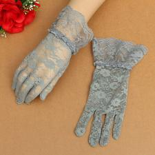 Ladies Grey Victorian Regency Lacy Gloves